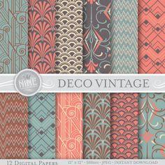 "VINTAGE ART DECO Pattern Digital Paper Pack Pattern Prints, Instant Download, 12"" x 12"" Patterns Backgrounds Print"