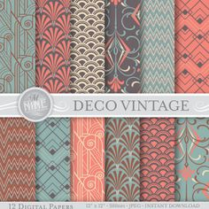 "VINTAGE ART DECO Pattern Digital Paper Pack Pattern Prints, Instant Download, 12"" x 12"" Patterns Backgrounds Print"
