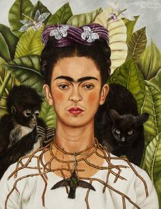 Frida Kahlo, Self-Portrait with Thorn Necklace and Hummingbird, 1940 Harry Ransom Center, The Univer.
