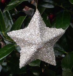 Star Ornament Silver German Glass Glitter by UrbanFarmhouseChic, $5.00