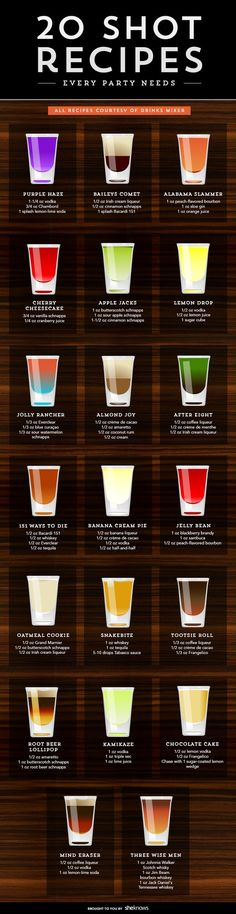 Watch out — these fun shooters go down easy, but they pack a punch alcohol recipes Even if you don't party anymore, these shot recipes are worth trying Liquor Drinks, Cocktail Drinks, Liquor Shots, Alcoholic Beverages, Whiskey Shots, Lemonade Cocktail, Alcholic Drinks, Vodka Shots, Brunch Drinks