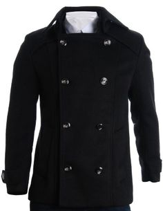 FLATSEVEN Mens Detachable Collar Double Breasted Pea Coat (CT123) Black, XL FLATSEVEN http://www.amazon.com/dp/B00A7BX6GM/ref=cm_sw_r_pi_dp_8gB2ub1SK7WG7 #FLATSEVEN #men #Fashion #Breasted Pea #Coat