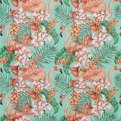 Flamingo Club by Matthew Williamson - Jade, Peach, Coral & Leaf - Fabric : Wallpaper Direct Matthew Williamson, Fabric Decor, Fabric Design, Motif Tropical, Tropical Heat, Tropical Prints, Tropical Fabric, Osborne And Little, Nina Campbell