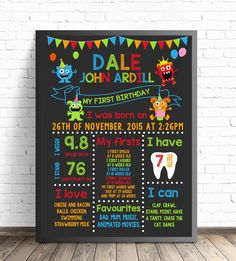 Commemorate your little one's first birthday with our Party Monster Birthday Board. Birthday Board, Birthday Month, Birthday Diy, Birthday Signs, Card Birthday, Birthday Quotes, Little Monster Birthday, Monster Birthday Parties, Boys First Birthday Party Ideas