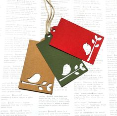 Christmas Bird gift tags. Original design, large hanging tags.