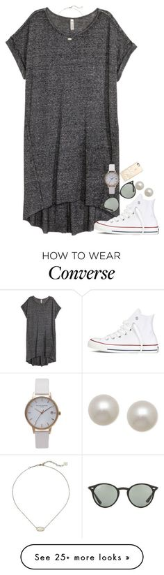 """but first, coffee.☕️"" by isabella813 on Polyvore featuring Converse, Ray-Ban, Honora, Olivia Burton, Kendra Scott and Casetify"