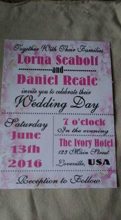50 Wedding Invitations subway art on pale pink flowers