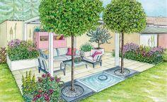An der Stelle eines alten Schuppens entsteht ein windgeschützter Sitzplatz im Garten. Zwei Gestaltungsideen mit Pflanzplänen zum Herunterladen und Ausdrucken.