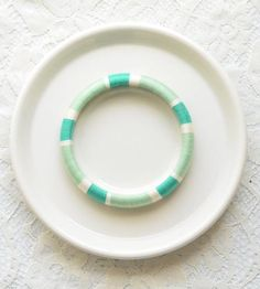 Thread Wrapped Bangle Bracelet - Mint Green and White by The Glossy Queen on Scoutmob Shoppe