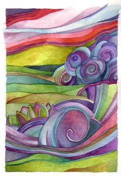SALE Sea of Spring original watercolor by Megan Noel by meinoel