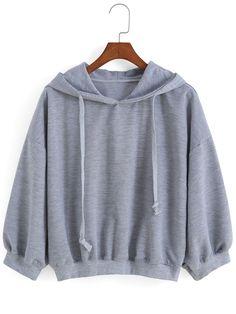 Sweat-shirt avec cordon décontracté - Gris-French SheIn(Sheinside)