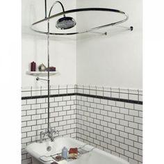 Sheffield Deck Mount Hotel-Style Shower Conversion Kit - Clawfoot Tub Shower Kits - Shower - Bathroom