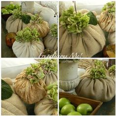 Burlap pumpkins....I have lots of extra burlap, but I don't like the flower top.