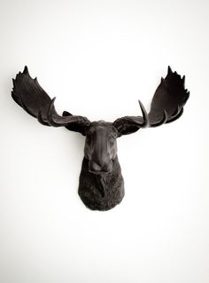 Faux Taxidermy Moose Head, The Leonard - Black Resin Moose Wall Mount - Faux Taxidermy Art - Chic Animal Head Decor By White Faux Taxidermy Animal Head Decor, Animal Heads, Animal Sculptures, Wall Sculptures, Sculpture Art, Moose Animal, Moose Decor, Moose Head, Shopping