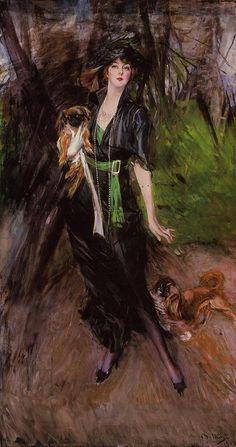 Portrait d'une dame, Lina Bilitis, avec deux pékinois - Giovanni Boldini.