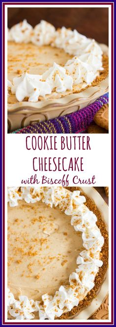With a Biscoff cookie crumb crust and a no-bake cookie butter cheesecake filling, this pie is ready in about 30 minutes! With a Biscoff cookie crumb crust and a no-bake cookie butter cheesecake filling, this pie is ready in about 30 minutes! Biscoff Cookie Butter, Peanut Butter Mug Cakes, Butter Cookies Recipe, No Bake Cookies, Butter Pie, Butter Cupcakes, Butter Tarts, Cheesecake Recipes, Biscoff Cheesecake