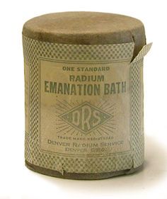 "Radium Emanation Bath Salts (ca. 1925) // Described by the manufacturer, the Denver Radium Service, as being good for nervous disorders, insomnia, general debility, arthritis, and rheumatism. The directions read, ""Empty contents in a quart of hot water. After a few moments add to regular bath solution. Remain in bath 45 minutes with cover over top of tub. Upon leaving bath relax in bed for one hour."""