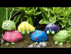 Kid-painted garden rock caterpillar!  They're already excited to make one!
