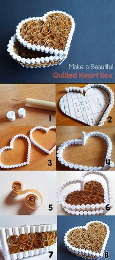 "quilling srce kutijica "" Make a Beautiful Quilled Heart Box - Step-by-step"", ""So i like this idea but instead of the brown quilling maybe cork board ( w 3d Quilling, Quilling Jewelry, Paper Quilling Tutorial, Paper Quilling Designs, Quilling Paper Craft, Quilling Patterns, Quilled Roses, Quiling Paper, Diy Paper"