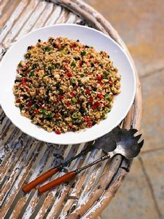 """Crunchy Brown rice salad healthy recipe by Jane Grover from the """"Naked Food"""" cookbook"""