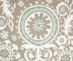 Drapes/Curtains - Premier Prints Suzani Twill Powder Blue - Baby Blue and Taupe (50 x 96)