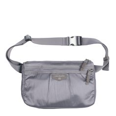 TWELVElittle Fanny Pack in Grey: Water-resistant coated exterior and interior fabric with adjustable waist belt. Brushed hardware accent buckle cap and many pockets inside and outside. Can be worn across the body. [gray silver on-the-go travel gym workout jogging exercise nursing durable fashionable mommy diaper bag accessories]