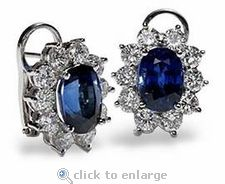 Ziamond Cubic Zirconia Oval Clip Cluster Earrings in white gold. The Oval Clip Cluster earrings feature a carat sapphire blue center accented by a cluster of carat each round stones. Cluster Earrings, Stud Earrings, Wedding Jewelry, Wedding Rings, Cubic Zirconia Earrings, Gold Platinum, Blue Sapphire, Jewelry Making, White Gold