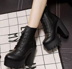 Spring Autumn Round Toe Lace-up Chunky Super High Heel Black PU Short Martens Boots on Luulla Black Platform Boots, High Heel Boots, Black Boots, Heeled Boots, Shoe Boots, Ankle Boots, Super High Heels, Black High Heels, Cute Shoes