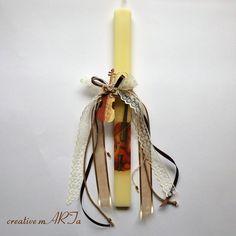 Χειροποίητη πασχαλινή λαμπάδα Candle Sconces, Wall Lights, Candles, Home Decor, Appliques, Decoration Home, Room Decor, Candy, Candle Sticks
