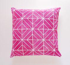 Hand printed fuchsia geometric throw pillow cover • bright, bold pink / magenta / fuschia