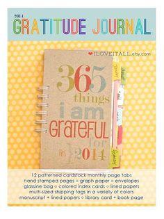Gratitude Journal . 2014 365 Things I Am Grateful by iloveitall, $45.00