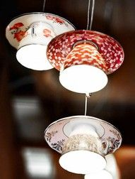 teacup lights! How cute would this be in a kitchen over the sink!?