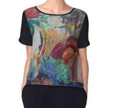 Women's Chiffon Top  featuring Still Life with Roses fine art painting by Avonelle Kelsey