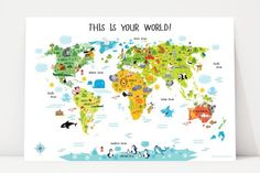 Animal print christmas presents world map poster world map art animal print christmas presents world map poster world map art animal nursery decor art print baby room poster prices from 995 click phot gumiabroncs Image collections