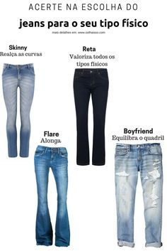 como escolher o modelo de jeans ideal para o seu corpo. jeans para cada tipo de corpo. jeans perfeito. como escolher o jeans. Calça para cada corpo. Look Fashion, Girl Fashion, Fashion Outfits, Womens Fashion, Fashion Tips, Fashion Design, Estilo Girlie, Cool Outfits, Casual Outfits