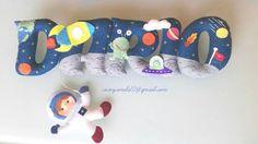 Space felt name banner Nursery decor