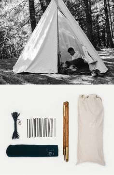 Scout Single Pole Tent  Sick of that featherweight, totally waterproof tent that packs down to the size of a foot-long sub? Thought so. Here's the polar opposite: All canvas construction. Sets-up with a single, collapsible hickory pole and features an antique brass zippered entry. American made. Horse and saddle not included.