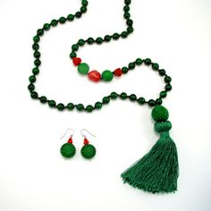 Tassel necklace and earring set in Emerald green with corral and cinnabar by AdornmentsNYC, $145.00