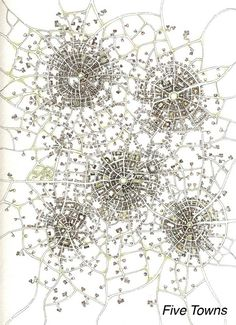 """Incredible detail! """"Five Towns Cityspace 85""""  Imaginary Cartography by by keepcreating on Etsy."""
