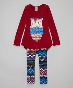 Loving this Burgundy Owl Tunic & Tribal Leggings - Toddler & Girls on #zulily! #zulilyfinds