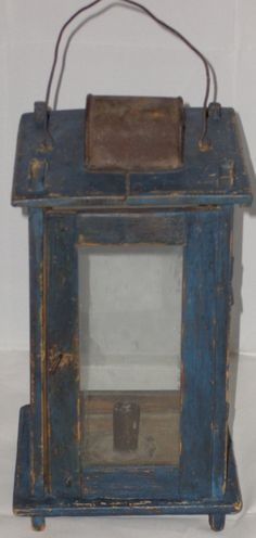 19th C TREEN CANDLE BARN LANTERN OLD BLUE PAINT w/DOOR .     Fabulous OLD blue painted surface - Great early lantern.     Sold   ebay    1270.35