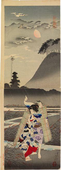 Tsukioka Yoshitoshi (1839-1892): Rustic Genji, woodblock print, 1885.