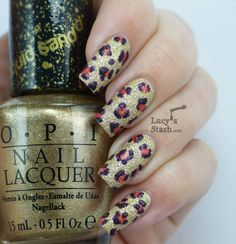 Lucy's Stash - Textured Leopard Print Nail Art feat. OPI Bond Girls Liquid Sand collection polishes
