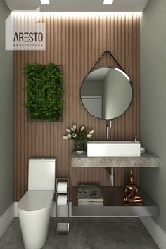 Lavabo pequeno com painel de madeira, piso e  bancada em cimento queimada. Local: Condomínio Reserva da Serra em Jundiaí, SP.#decor #arquitetura #architecture #lavabo Washroom Design, Bathroom Design Luxury, Modern Bathroom Design, Home Interior Design, Small Toilet Design, Home Decor Furniture, House Design, Ideas, Small Rustic Bathrooms