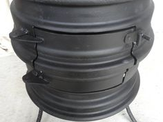 Wheel Rim Wood Burning Stove - Upcycled Log Burner for Patio and Outdoors with Hand Forged Features Wood Burning Furnace, Rim Fire Pit, Stove Paint, Diy Wood Stove, Sheltered Housing, Stove Heater, Bbq Kitchen, Welding Projects, Welding Ideas