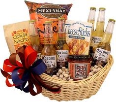 Beer gift baskets for men with craft brews, ipa's & more. Alcohol Gift Baskets, Food Gift Baskets, Gift Baskets For Men, Wine Baskets, Craft Beer Gifts, Food Gifts, Men Gifts, Beer Basket, Mexican Beer