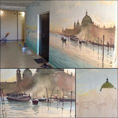 Venice inspired custom commercial mural. Great hand-painted mural idea Mural Painting, Murals, Venice, Commercial, Hand Painted, Inspired, Inspiration, Biblical Inspiration, Wall Paintings