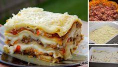 A kedvenc lasagne receptem, lépésről lépésre | TopReceptek.hu Parmesan, Mozzarella, Thing 1, Food Tags, Spaghetti Recipes, Italian Pasta, What To Cook, Food And Drink, Pizza