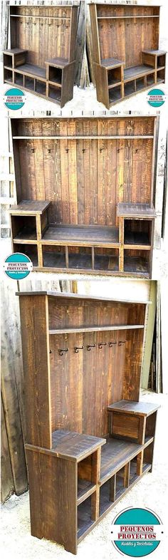 Let's reshape the raw wooden pallets present at your area and transform them into few appealing and valuable recycled pallets wood wardrobe plans. These recycled wooden pallets projects are not only l Wooden Pallet Projects, Pallet Crafts, Woodworking Projects Diy, Diy Projects, Woodworking Plans, Woodworking Store, Learn Woodworking, Woodworking Furniture, Diy Pallet