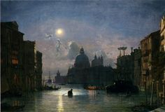 """""""Friedrich Nerly the Younger (Federico Nehrlich; Santa Maria Della Salute, Venice (Oil on canvas)"""" Grand Canal, Santa Maria, Nocturne, Venice Painting, Moonlight Painting, Most Famous Paintings, Italian Painters, Manet, Oil Painting Reproductions"""